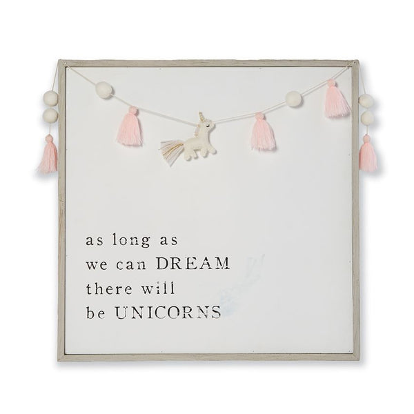 Dream Pink Pom-Pom Tassel Unicorn Garland Plaque - Body Mind & Soul