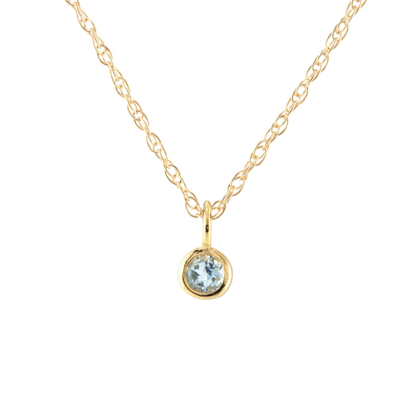 March Aquamarine Birthstone Necklace