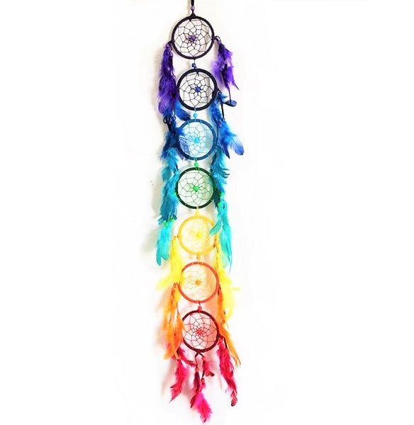 Seven Chakra Dreamcatcher with Feathers & Beads