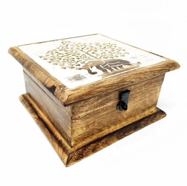 Elephant Tree Wooden Box