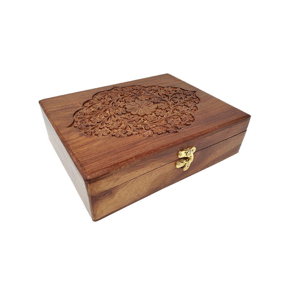 Floral Engraved Wooden Box