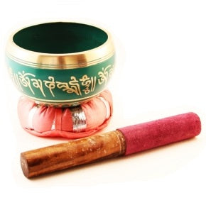 Green Tibetan Singing Bowl - Body Mind & Soul