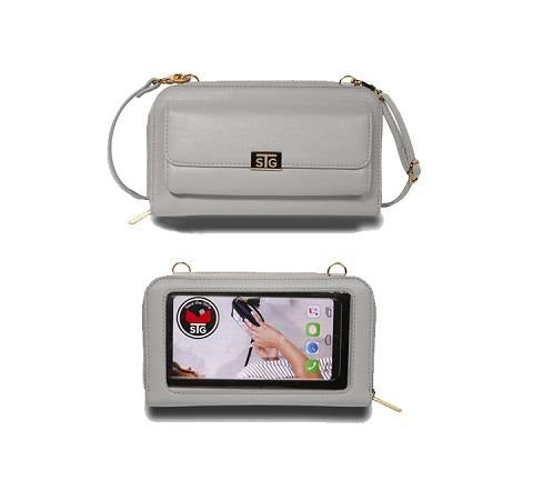 Sanibel Touch Screen Cell Phone Purse in Warm Grey