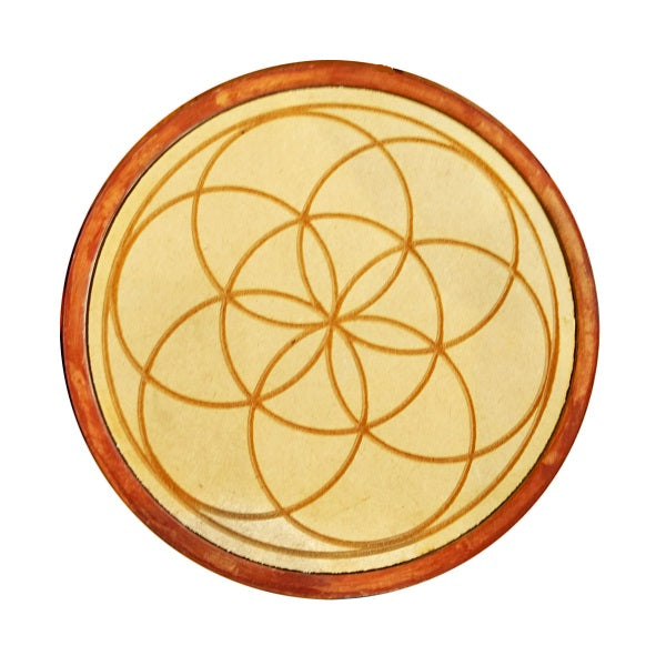 Seed of Life Wood Crystal Grid