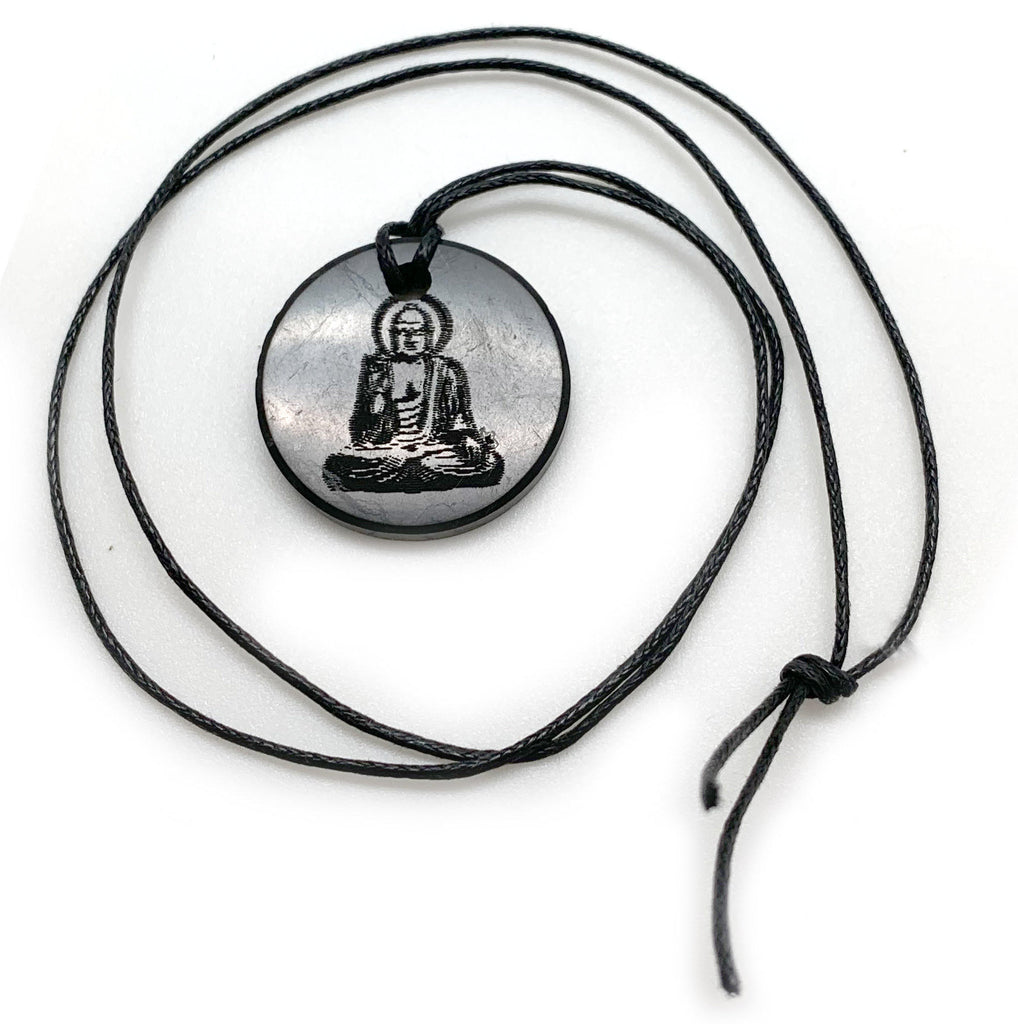 Shungite Necklace With Engraved Buddha