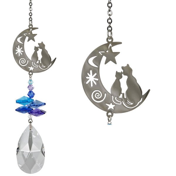 Crystal Fantasy Cat & Moon Suncatcher