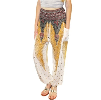 Jeannie Pants in White & Gold Feathers