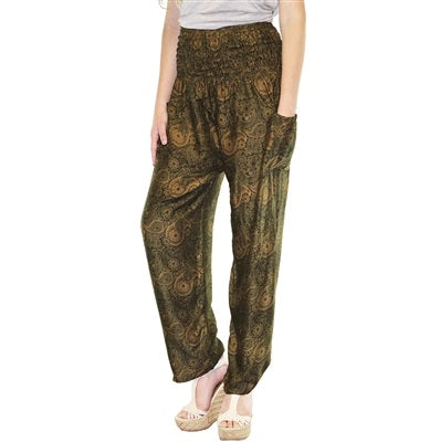 Zelda Pants in Olive & Tan Paisleys - Body Mind & Soul