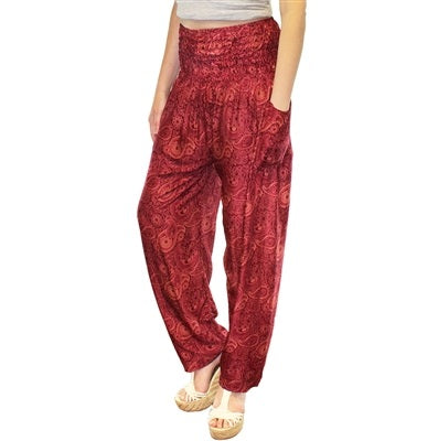 Zelda Pants in Wine & Rose Paisleys - Body Mind & Soul