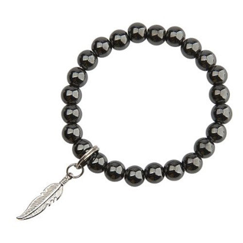 Hematite Bead Feather Charm Bracelet