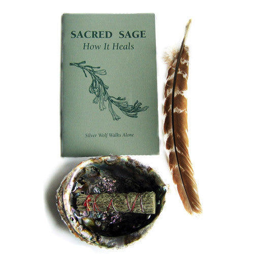 Smudge Kit with Book, Feather, Abalone Shell, and Sage Wand