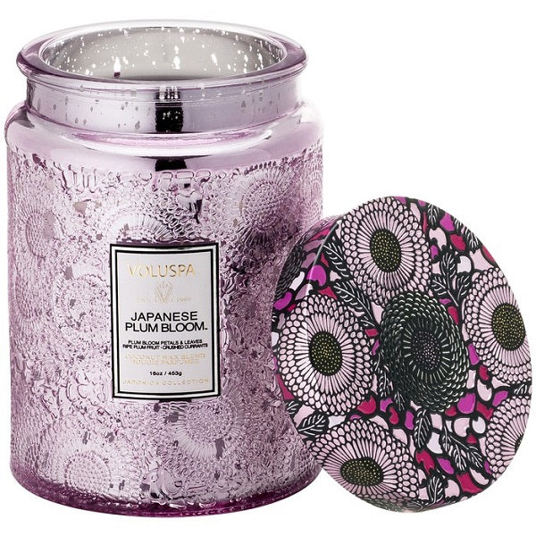 Japanese Plum Bloom Embossed Glass Jar Candle