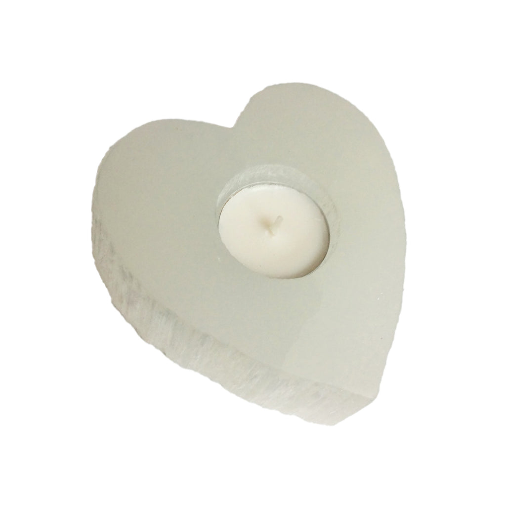 Selenite Heart Candle Holder - Body Mind & Soul