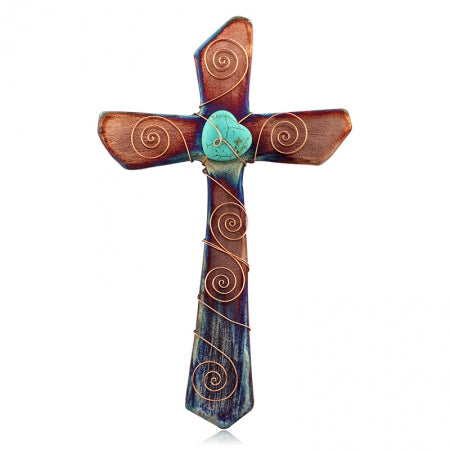 Raku Turquoise Heart Cross - Body Mind & Soul