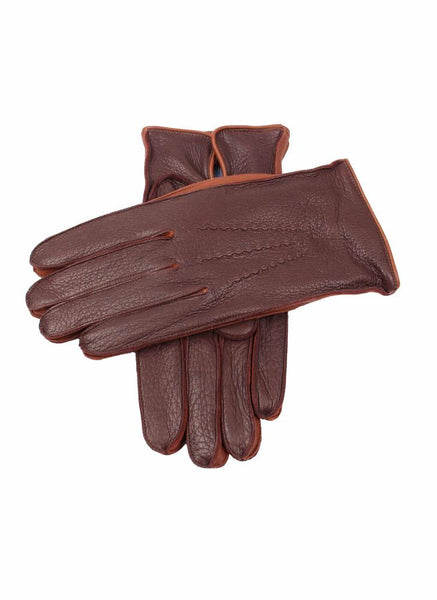 Men's Lambswool Lined Deerskin Leather Gloves with Contrast Side Walls