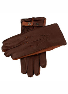Men's Cashmere Lined Deerskin Leather Gloves with Contrast Side Walls