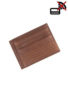 Contrast Stitch Pebble Grain Leather Card Holder with RFID Blocking Protection