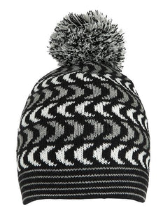 Chevron Knitted Hat with Pom Pom