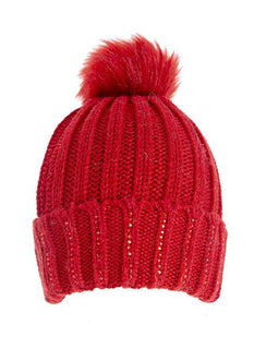 Diamante Knitted Hat with Faux Fur Pom Pom