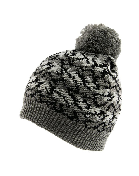 Reptile Print Knitted Beanie Hat with Pom