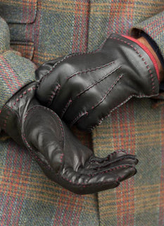 Men's Handsewn Contrast Colour Cashmere Lined Leather Gloves