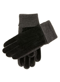 Men's Fleece Lined Suede Gloves with Knitted Cuffs