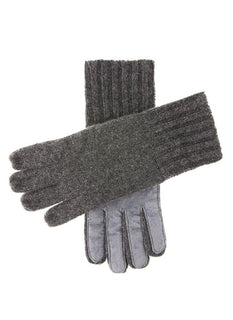 Men's Cashmere Knitted Gloves with Suede Palm Patch