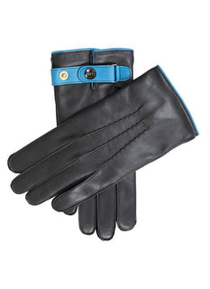 Men's Cashmere Lined Leather Gloves with Contrast Colour Details
