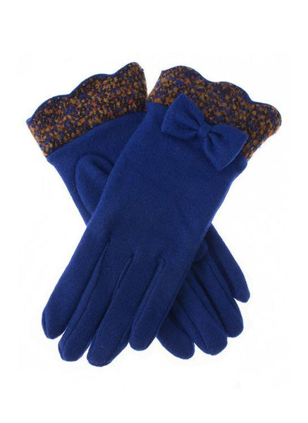 Women's Woollen Bow Gloves with Scalloped Cuffs