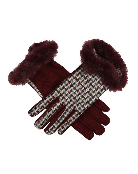 Women's Abraham Moon Dogtooth Wool Gloves with Faux Fur Cuffs