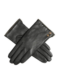 Women's Leather Gloves with Metallic Details