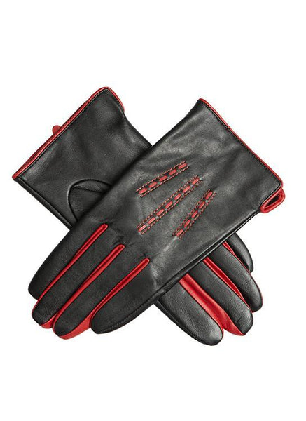 Women's Leather Gloves with Contrast Details