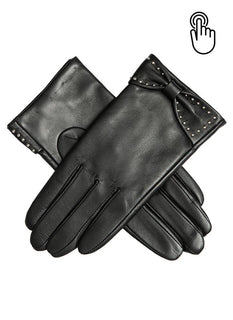 Women's Touchscreen Leather Gloves with Bow