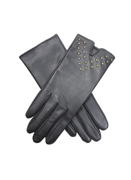 Women's Fleece Lined Leather Gloves with Stud Trim