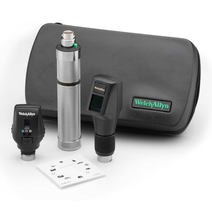 Welch Allyn 18240 - Welch Allyn 3.5 V Halogen HPX Ophthalmic Set including Coaxial Ophthalmoscope, Elite Streak Retinoscope, Rechargeable Handle, Case & Battery