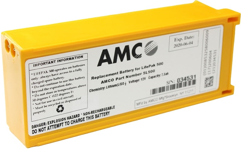 AMCO 5L500 Replacement Battery For LifePak 500 - Non-Rechargeable Lithium (LiSO2), 12V, 7.5ah