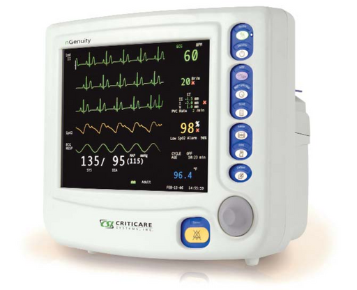 Criticare nGenuity 8100EP1 Vital Signs Monitor w/ DOX SpO2, NIBP, ECG, HR, Temp, Resp, CO2, and Printer (Refurbished)