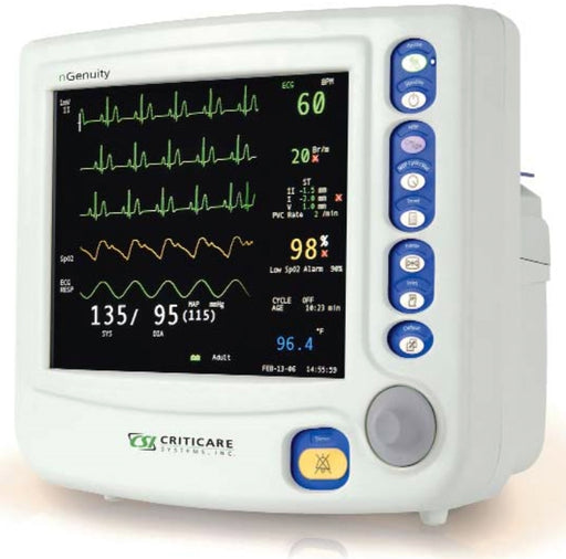 Criticare nGenuity 8100EP1 Vital Signs Monitor w/ DOX SpO2, NIBP, ECG, HR, Temp, Resp, CO2, and Printer (NEW)