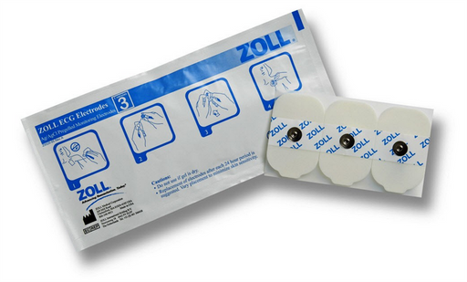 Zoll ECG Rectangular Monitoring Electrodes, 600 Electrodes - 3 Per Pouch