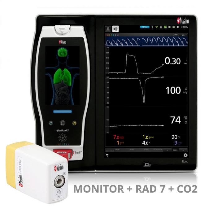Masimo Root Monitor w/ Radical 7 Handheld Pulse Oximeter + ISA CO2 Module (Refurbished)