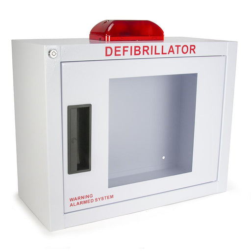 Compact AED Wall Cabinet w/alarm and strobe - Generic AED AMP14SQ-A-W/STROBE
