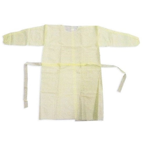 AAMI Level 2 Protective Long Sleeve Gown - 10/Pack - Yellow
