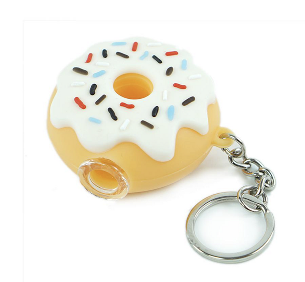 Silicone doughnut keychain pipe