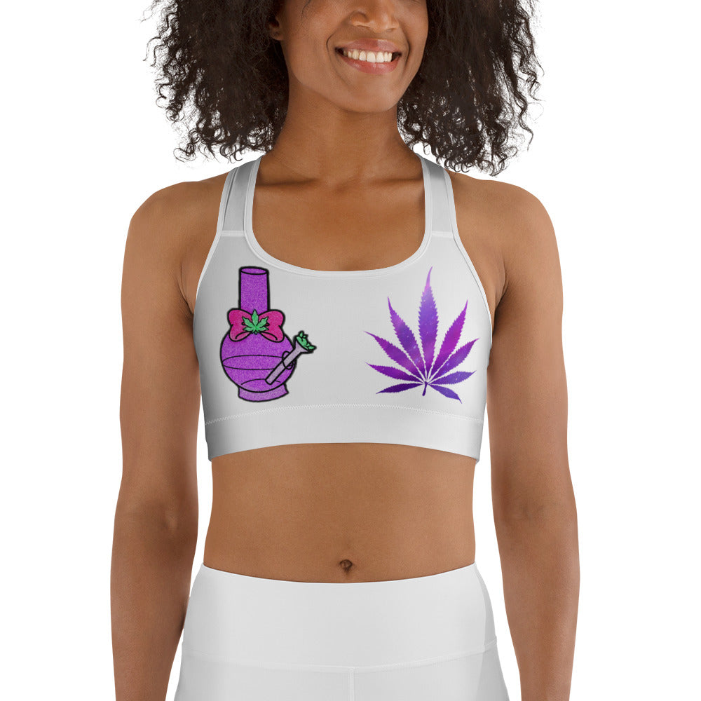 Water Pipe Hemp Leaf Sports Bra