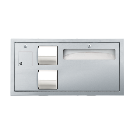 Toilet Tissue and Seat Cover Dispenser with Waste Disposal Recessed Combination Unit - ASI-0487-L