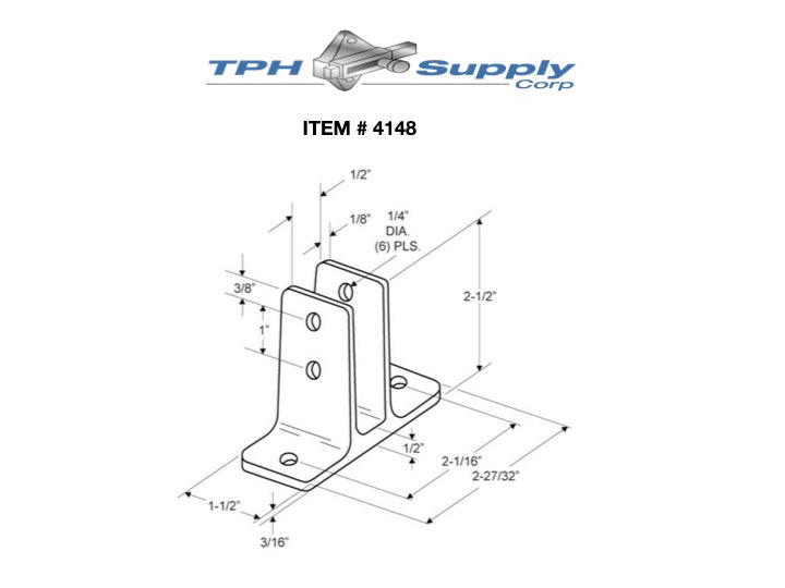 "Cast Stainless Steel Urinal Screen Bracket for 1/2"" Material - 4148"