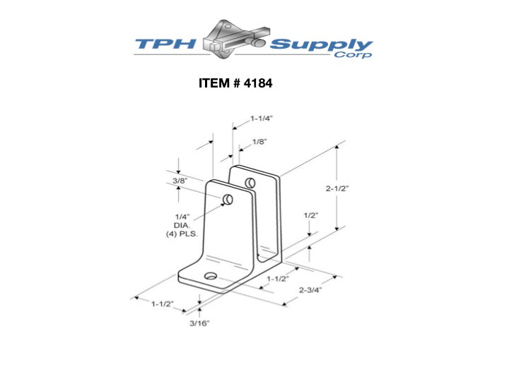 "Cast Stainless Steel One Ear Wall Bracket For 1-1/4"" Material - 4184"