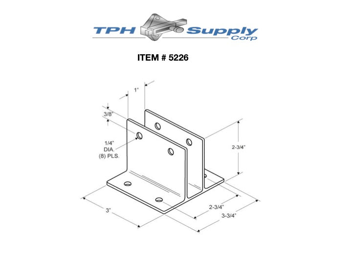 "Extruded Aluminum, Two Ear 1"" x 3"" Wall Bracket - 5226"