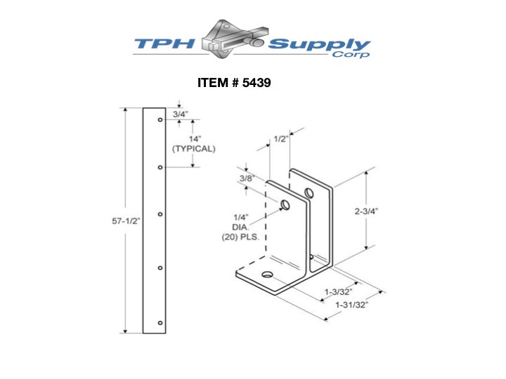 "Extruded Aluminum 57-1/2"" One Ear Wall Bracket For 1/2"" Material - 5439"