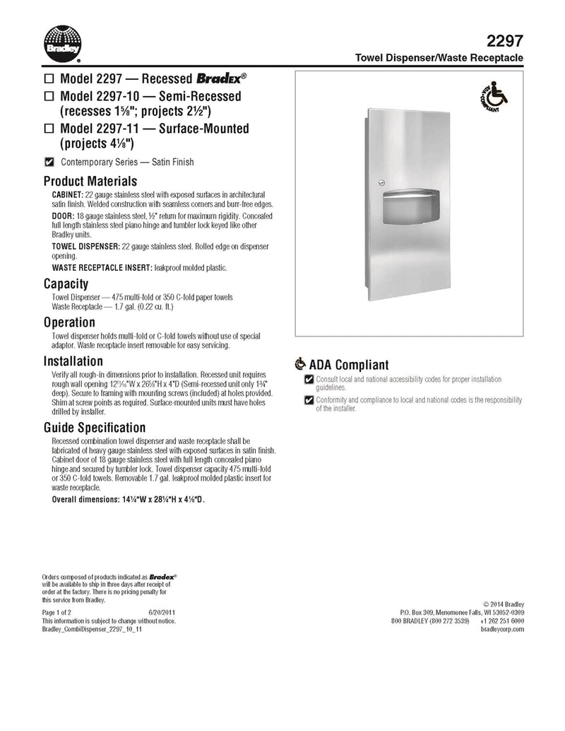 Towel Dispenser/Waste Receptacle, 1.7 Gal, Recessed - Bradley-2297-000000